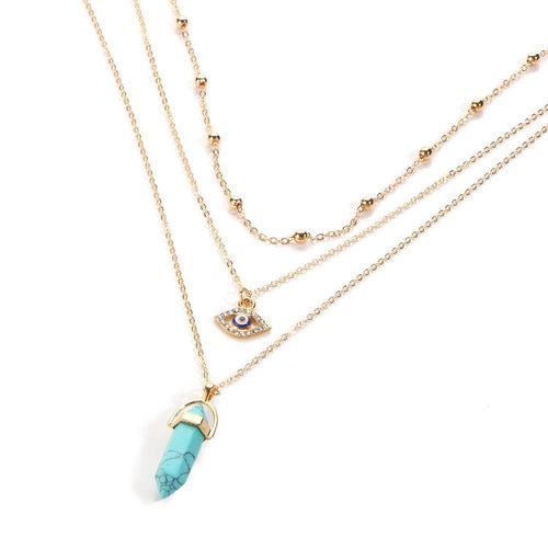 TURQUOISE EVIL EYE OPAL STONE GOLD MULTI LAYER DAINTY CHOKER NECKLACE