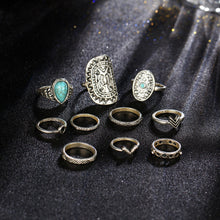 A-SHU RETRO VINTAGE INSPIRED 10 PCS RING SET - SILVER - A-SHU.CO.UK