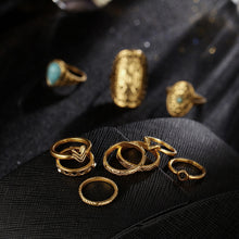 A-SHU RETRO VINTAGE INSPIRED 10 PCS RING SET - GOLD - A-SHU.CO.UK