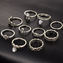 SILVER TRIBAL INSPIRED DAINTY DESIGN 10 PCS RING SET
