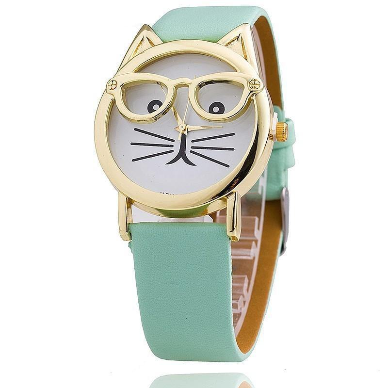 MINT GREEN LEATHER QUIRKY CAT FACE QUARTZ WRIST WATCH WITH GOLD DIAL