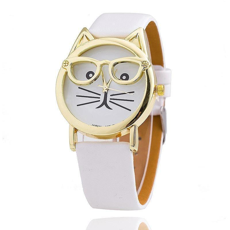 WHITE LEATHER QUIRKY CAT FACE QUARTZ WRIST WATCH WITH GOLD DIAL