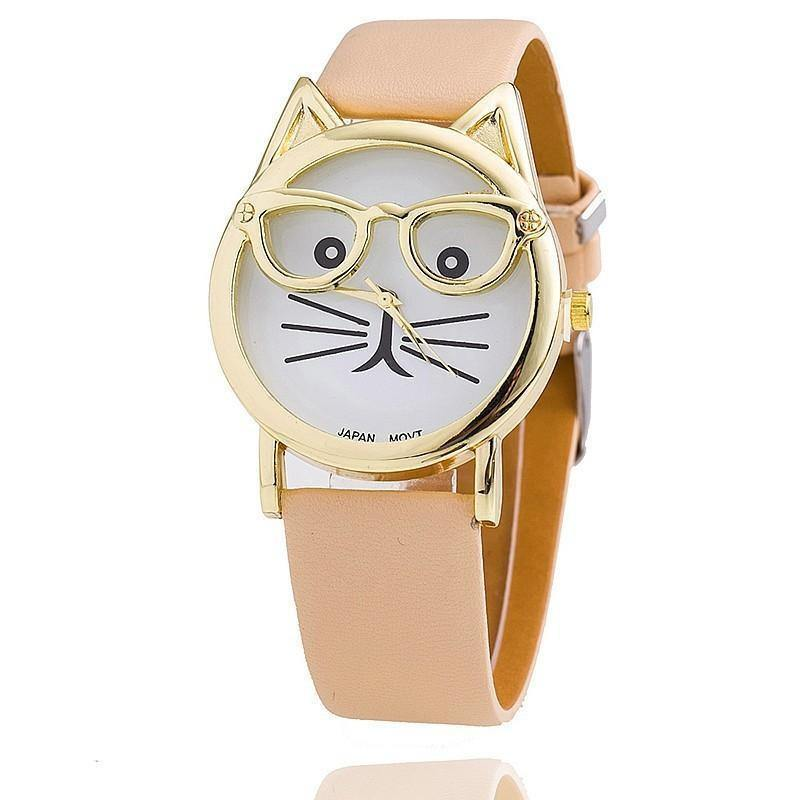 A-SHU GREY LEATHER QUIRKY CAT FACE QUARTZ WRIST WATCH WITH GOLD DIAL - A-SHU.CO.UK