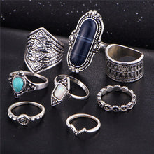 RETRO VINTAGE INSPIRED 8 PCS RING SET - SILVER WITH BROWN
