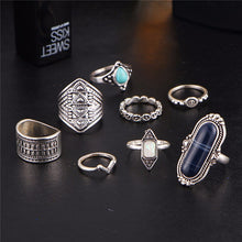 A-SHU RETRO VINTAGE INSPIRED 8 PCS RING SET - SILVER WITH BROWN - A-SHU.CO.UK