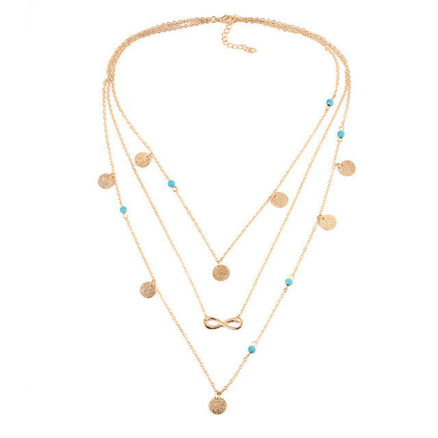 A-SHU DAINTY TURQUOISE STONE MULTI-LAYER GOLD NECKLACE - A-SHU.CO.UK