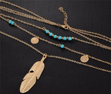 A-SHU DAINTY TURQUOISE MULTI-LAYER LEAF STONE GOLD NECKLACE - A-SHU.CO.UK