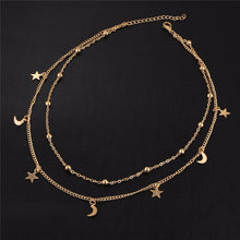 A-SHU DAINTY MULTI-LAYER STAR AND MOON GOLD NECKLACE - A-SHU.CO.UK