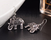 VINTAGE SILVER HOLLOW CARVED ELEPHANT DROP EARRINGS