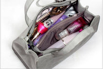 LIGHT GREY MULTI-COMPARTMENT BOW HANDBAG WITH LONG STRAP