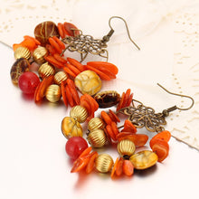 BOHO INSPIRED ORANGE BEADED DROP EARRINGS