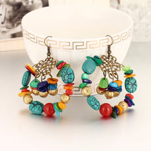 BOHO INSPIRED TURQUOISE BEADED DROP EARRINGS