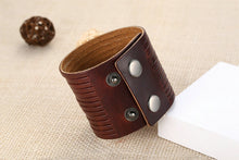 A-SHU GENUINE LEATHER DARK BROWN WIDE CUFF BRACELET - A-SHU.CO.UK