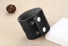 A-SHU GENUINE LEATHER BLACK WIDE CUFF BRACELET - A-SHU.CO.UK