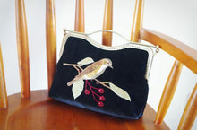 A-SHU BLACK HANDMADE VELVET CLUTCH BAG WITH BIRD AND FLOWER EMBROIDERY - A-SHU.CO.UK