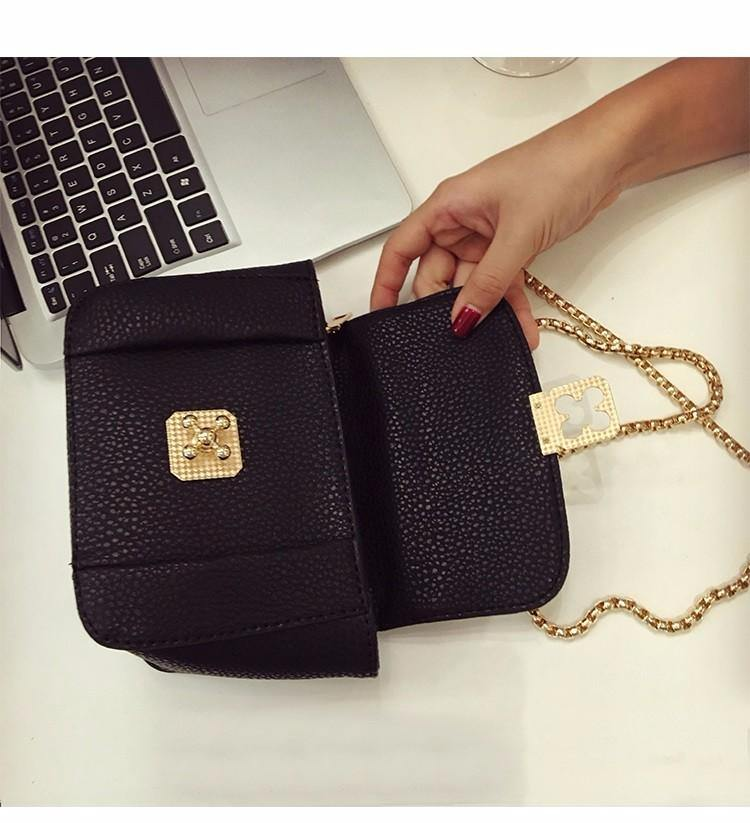 A-SHU SMALL BLACK CROSS-BODY BAG WITH CHAIN STRAP - A-SHU.CO.UK