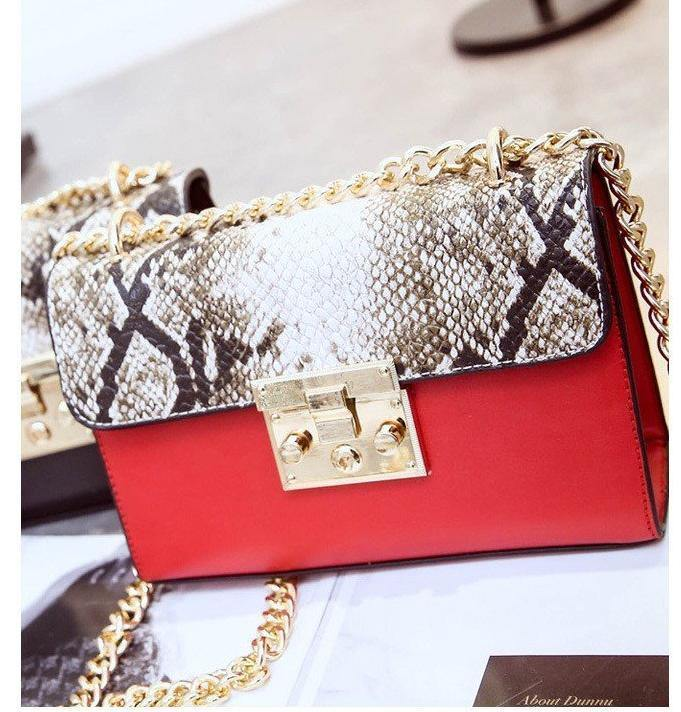 A-SHU RED SNAKESKIN EFFECT CROSS-BODY HANDBAG WITH CHAIN LINKED STRAP - A-SHU.CO.UK