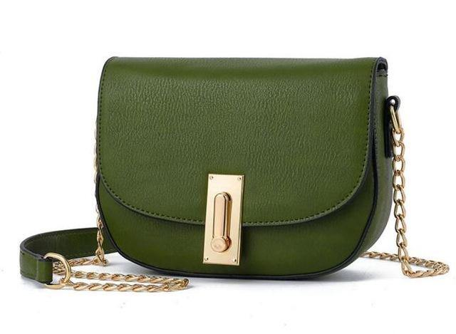 SMALL GREEN CROSS-BODY SHOULDER BAG WITH GOLD CHAIN STRAP