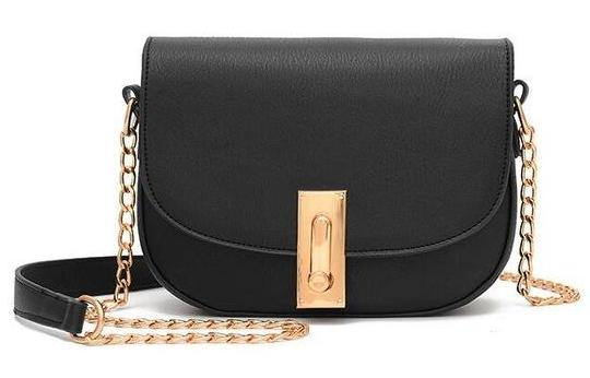 SMALL BLACK CROSS-BODY SHOULDER BAG WITH GOLD CHAIN STRAP