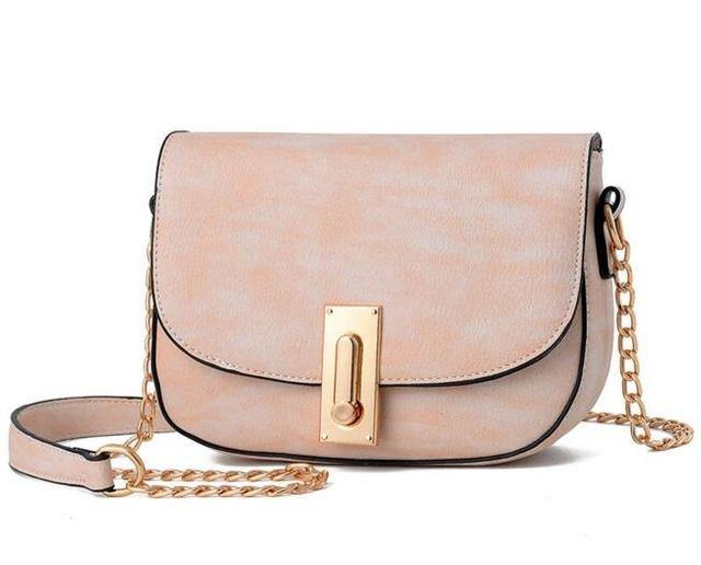 A-SHU SMALL BLUSH PINK CROSS-BODY SHOULDER BAG WITH GOLD CHAIN STRAP ...