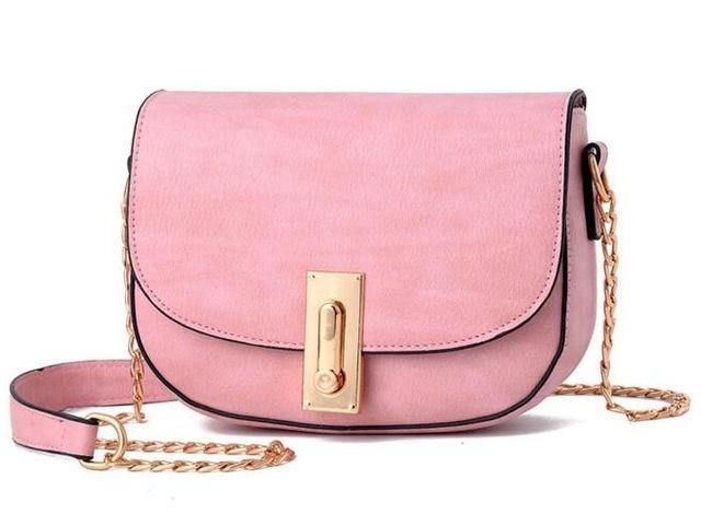 A-SHU SMALL PINK CROSS-BODY SHOULDER BAG WITH GOLD CHAIN STRAP - A-SHU.CO.UK