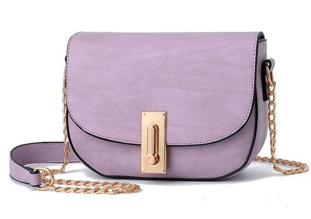 SMALL LILAC CROSS-BODY SHOULDER BAG WITH GOLD CHAIN STRAP