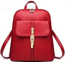A-SHU DEEP RED BELTED DESIGN MULTI-COMPARTMENT SLIM BACKPACK - A-SHU.CO.UK