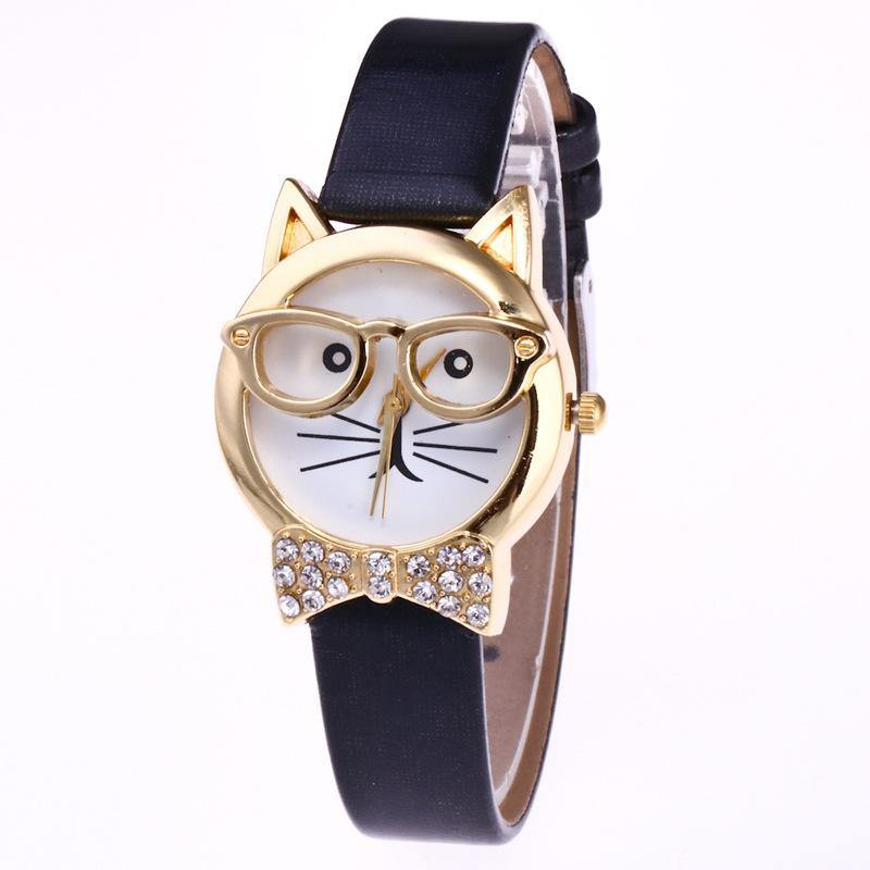 A-SHU BLACK QUIRKY GOLD CAT FACE QUARTZ WRIST WATCH WITH BOW TIE - A-SHU.CO.UK