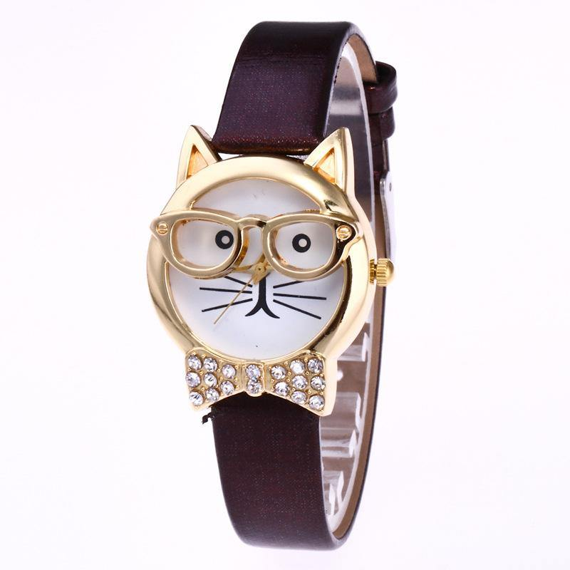 A-SHU PURPLE QUIRKY GOLD CAT FACE QUARTZ WRIST WATCH WITH BOW TIE - A-SHU.CO.UK