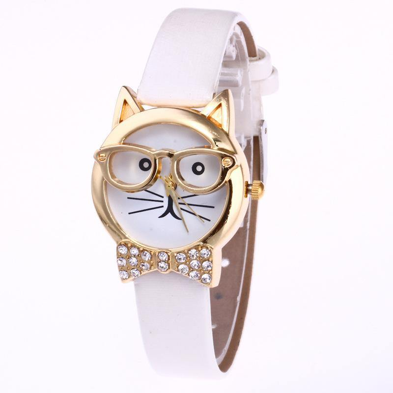 A-SHU OFF WHITE QUIRKY GOLD CAT FACE QUARTZ WRIST WATCH WITH BOW TIE - A-SHU.CO.UK