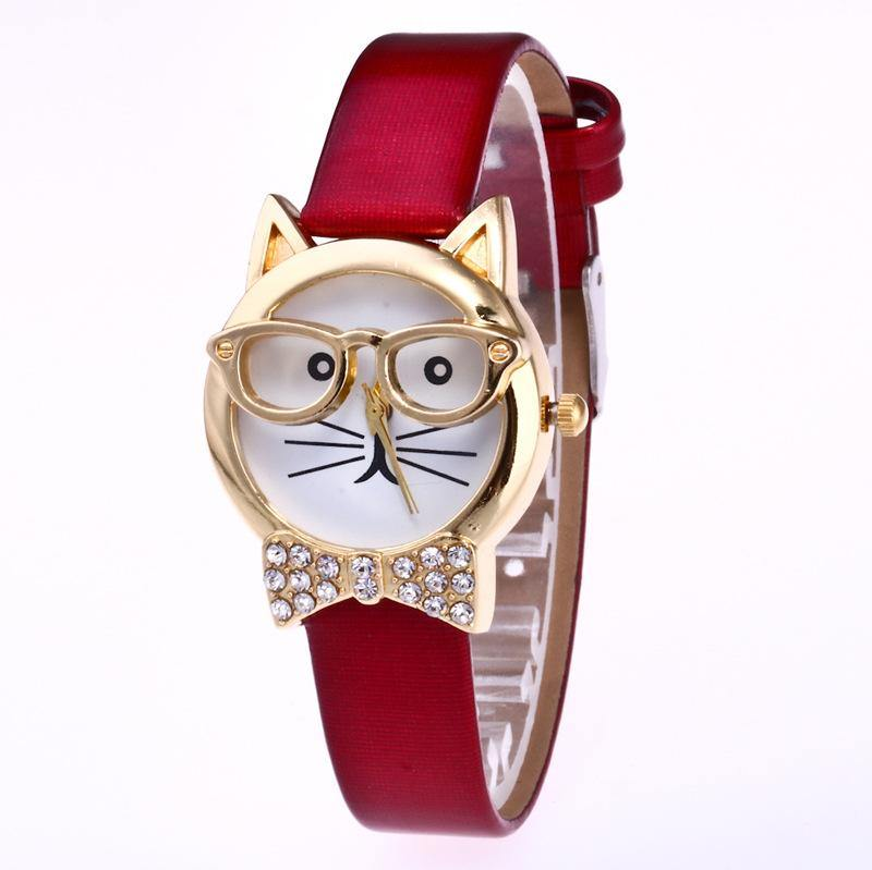 A-SHU RED QUIRKY GOLD CAT FACE QUARTZ WRIST WATCH WITH BOW TIE - A-SHU.CO.UK