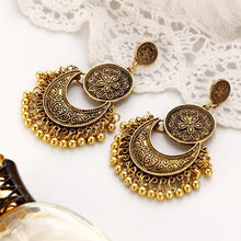 A-SHU ANTIQUE GOLD INDIAN VINTAGE STYLE LARGE DROP EARRINGS - A-SHU.CO.UK