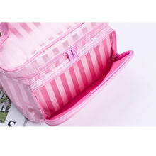 A-SHU LARGE RED STRIPED COSMETIC MAKE UP BAG ORGANISER / TOILETRY TRAVEL BAG - A-SHU.CO.UK