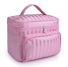LARGE FUSHCIA PINK STRIPED COSMETIC MAKE UP BAG ORGANISER / TOILETRY TRAVEL BAG