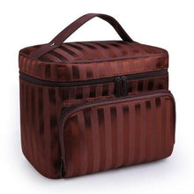 A-SHU LARGE BROWN STRIPED COSMETIC MAKE UP BAG ORGANISER / TOILETRY TRAVEL BAG - A-SHU.CO.UK