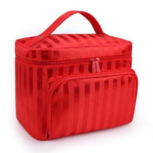 LARGE PINK STRIPED COSMETIC MAKE UP BAG ORGANISER / TOILETRY TRAVEL BAG