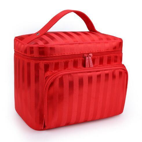 LARGE RED STRIPED COSMETIC MAKE UP BAG ORGANISER / TOILETRY TRAVEL BAG