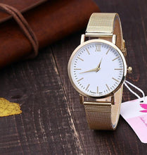 ROSE GOLD PLAIN MESH BAND WOMENS QUARTZ WRIST WATCH - WHITE DIAL