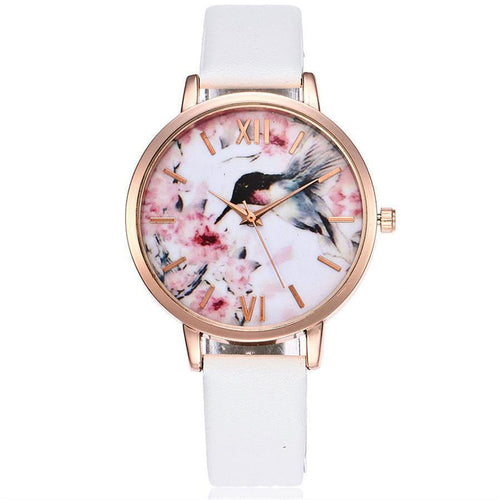WHITE FLORAL AND BIRD LEATHER WRIST WATCH WITH ROSE GOLD DIAL