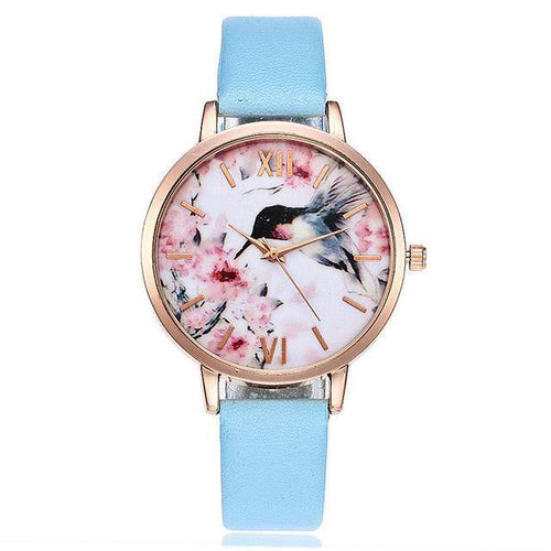 LIGHT BLUE FLORAL AND BIRD LEATHER WRIST WATCH WITH ROSE GOLD DIAL