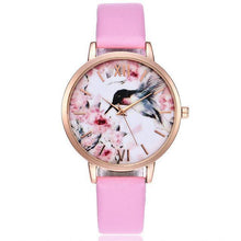 A-SHU WHITE FLORAL AND BIRD LEATHER WRIST WATCH WITH ROSE GOLD DIAL - A-SHU.CO.UK
