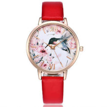 RED FLORAL AND BIRD LEATHER WRIST WATCH WITH ROSE GOLD DIAL