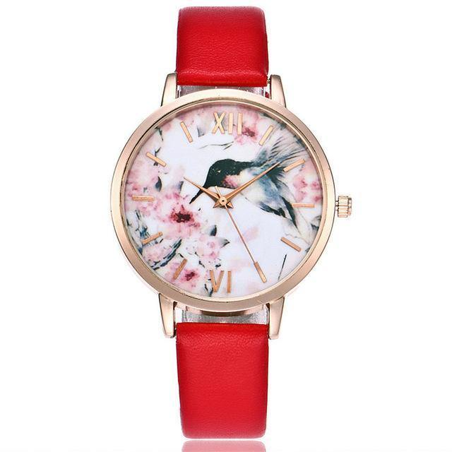 A-SHU LIGHT BLUE FLORAL AND BIRD LEATHER WRIST WATCH WITH ROSE GOLD DIAL - A-SHU.CO.UK