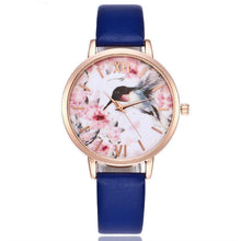 A-SHU NAVY BLUE FLORAL AND BIRD LEATHER WRIST WATCH WITH ROSE GOLD DIAL - A-SHU.CO.UK