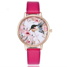 A-SHU BROWN FLORAL AND BIRD LEATHER WRIST WATCH WITH ROSE GOLD DIAL - A-SHU.CO.UK