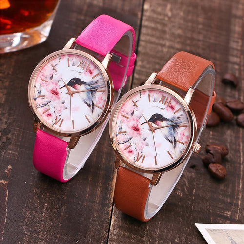 A-SHU FUCHSIA PINK FLORAL AND BIRD LEATHER WRIST WATCH WITH ROSE GOLD DIAL - A-SHU.CO.UK