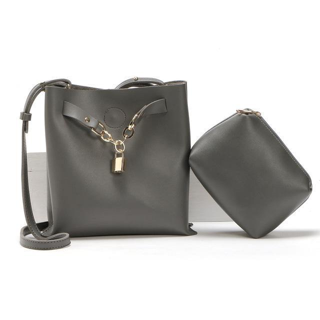 A-SHU DARK GREY 2 PIECE PADLOCK DESIGN CROSS-BODY SHOULDER BAG - A-SHU.CO.UK