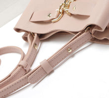 A-SHU BEIGE 2 PIECE PADLOCK DESIGN CROSS-BODY SHOULDER BAG - A-SHU.CO.UK