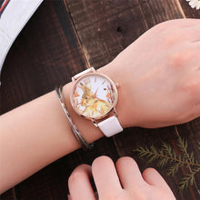 RED BUNNY RABBIT LEATHER WRIST WATCH WITH ROSE GOLD DIAL