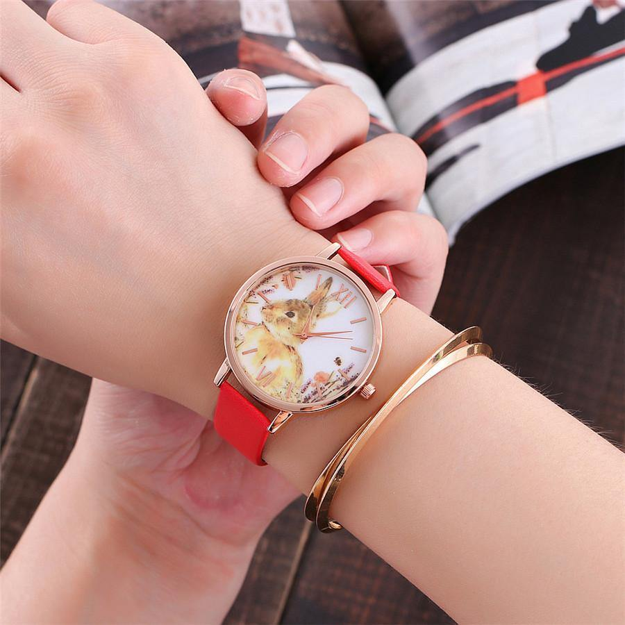 A-SHU FUSHCIA PINK BUNNY RABBIT LEATHER WRIST WATCH WITH ROSE GOLD DIAL - A-SHU.CO.UK